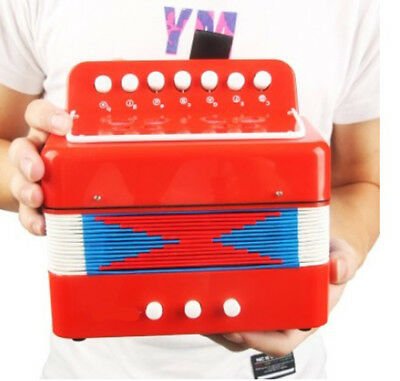 A12 Professional 7 Key Red Children Beginner Musical Instrument Accordion O