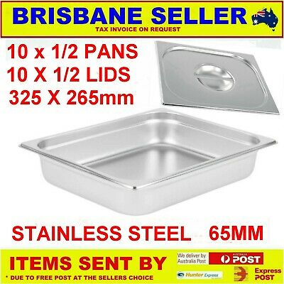 10 X 1/2 Gn Pans Bain Marie Pans Stainless Steel 65Mm With Lids  ** See Delivery