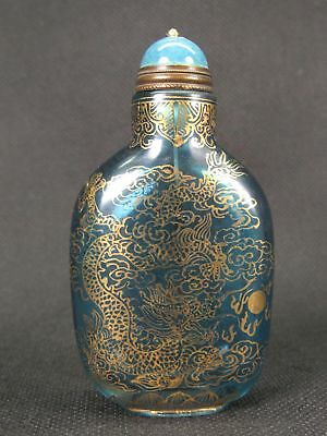 Chinese Hand Painted Dragon Phoeni Peking Enamel Glass Snuff Bottle-Real Auction