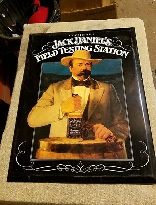 JACK DANIELS FIELD TESTING STATION METAL SIGN With Stand Very RARE!!!!