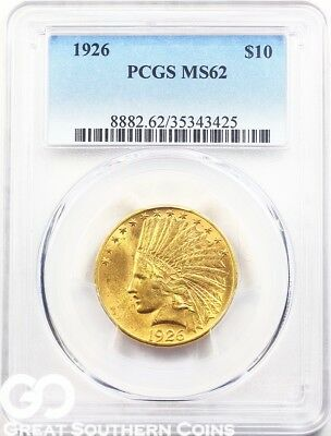 1926 PCGS Gold Eagle, $10 Gold Indian PCGS MS 62 ** Very Nice, Free Shipping!