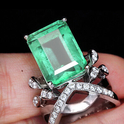12.11CT 100% Natural 14K Gold Muzo Colombian Emerald Diamond Ring CKG78