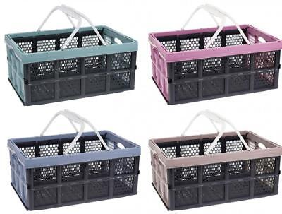 Collapsible Folding Plastic 32Lt Storage Shopping Basket Crate with Handle
