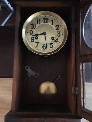 old Wooden clock Untested Has A Key