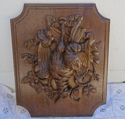 Black Forest Wood Panel Hand Carved Hunt Theme Trophy Bird Wall Plaque Solid Oak