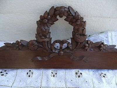 "40.5"" Antique French Hand Carved Pediment Architectural Oak Wood Ribbon Flowers"