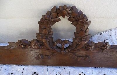 "40.5"" French Antique Hand Carved Pediment Architectural Oak Wood Ribbon Flowers"