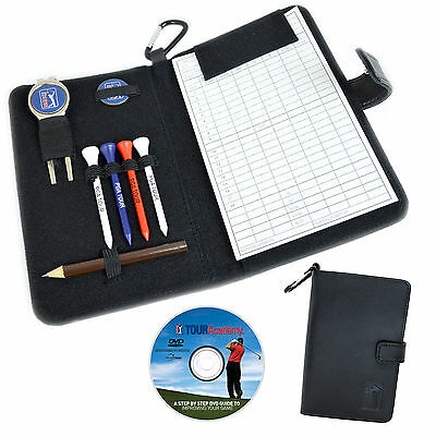 PGA TOUR Real Leather Golf Score Card Holder - Black Button Fasten High Quality