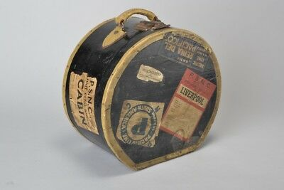 Ladies' Edwardian Japanned Canvas Hat Box with Marvellous Luggage Labels. GTD