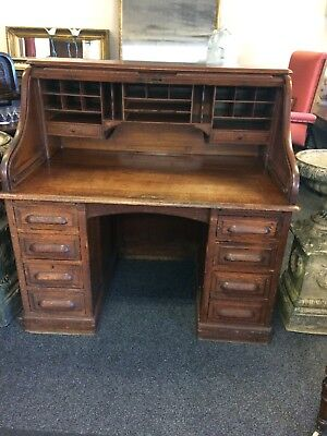 Antique Oak Roll Top Library Counting House Desk Twin Pedestal