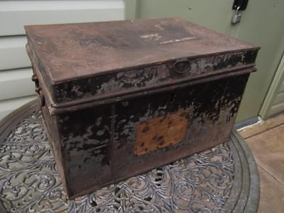 Large Vintage Metal Deed Box Storage Tin Chest #13