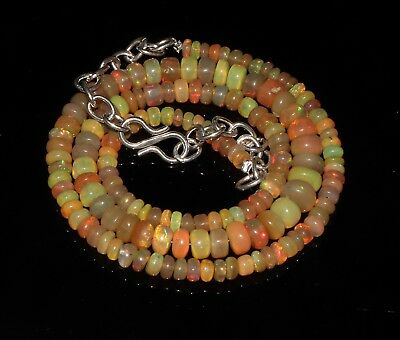 """56 Tcw 4-6 Mm 16""""natural Genuine Ethiopian Welo Fire Opal Beads Necklace-F31356"""