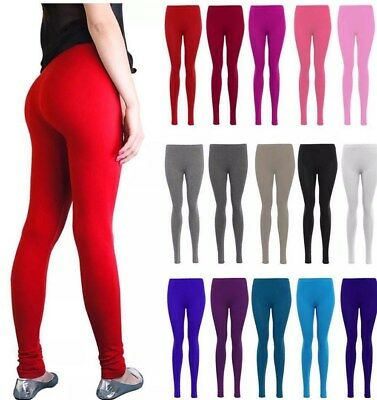 Womens Ladies New Plain Stretch Elasticated Full Length Long Leggings Pants 8-14