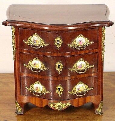 Antique French Louis XV chest of drawers Apprentice jewellery box gilt rococo