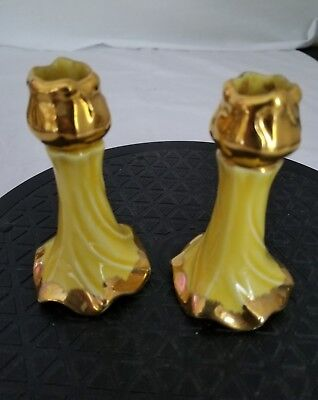 "Vintage Ceramic Victorian pair Budvase minature that's Yellow Gold Trim 4"" tall"