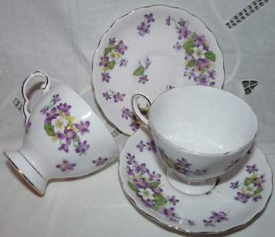 Royal Tuscan, Violets Cup & Saucers . Two Sets. England