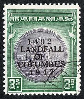 Bahamas SG173a 1942 Columbus 3/- Brownish black and green Fine Used