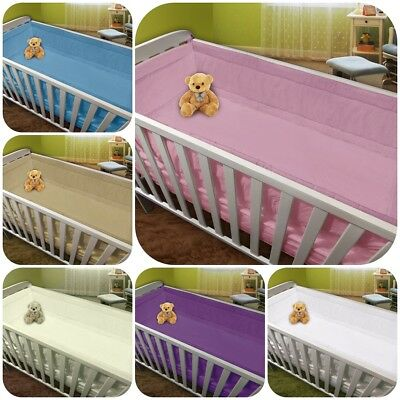 All Round Cot, Cot Bed 4 Sided Pad Bumper With Plain Pattern, 6 Colours