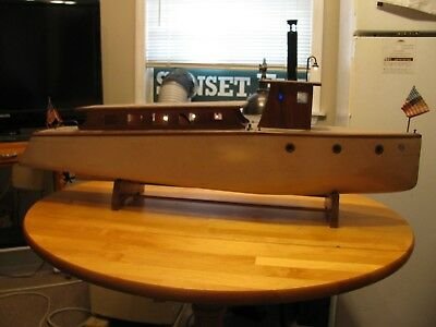 """#3, Antique 42"""" In. Long, 1930's Or 40's Wooden Display Yacht Steam Engine Boat"""