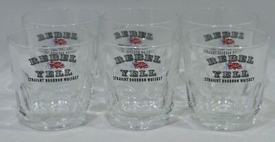 REBEL YELL Bourbon Whiskey 6 verres shot NEUF