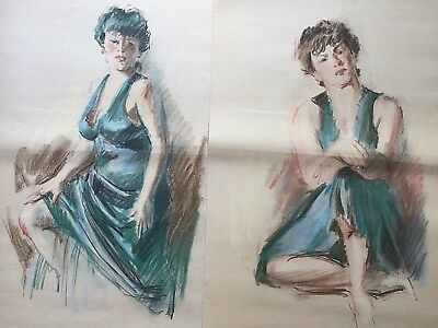 EARL NOREM Original Art 2 FEMALE STUDIES LADY IN GREEN Silvermine Guild Of Art