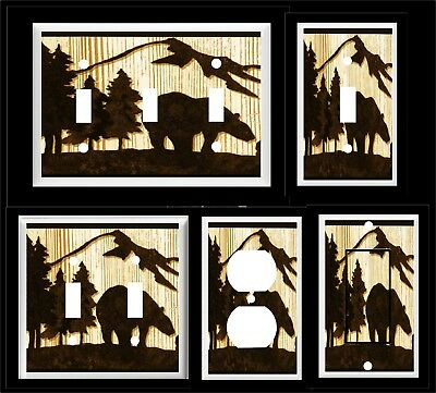 Bear Pine Tree Mountain Silhouette Light Switch Cover Plate  Rustic Cabin Decor
