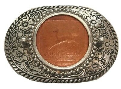 Vtg John Deere Belt Buckle Pink Western Large Farming Tractor Leather Inlay Logo