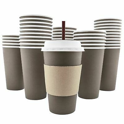 100 Pack - 16 Oz [8, 12, 20] Disposable Hot Paper Coffee Cups, Lids, Sleeves,