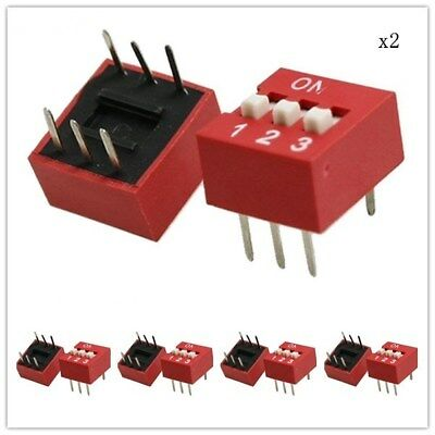 10PCS Red 2.54mm Pitch 3-Bit 3 Positions Ways Slide Type DIP Switch New