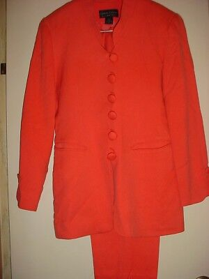 2-Pc. Coral Suit 100% SILK  Lined Blazer with Pants  Sz. 2