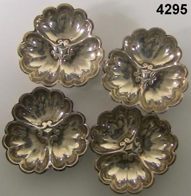 "Sterling Silver Set Of 4 Small Nut/candy Dishes 2.6Oz Total 3""wide #4295"