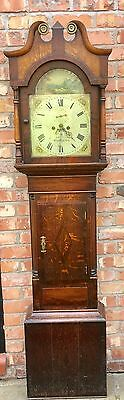 Antique Oak & Mahogany 8 DAY Longcase Grandfather Clock M H CLARKE BIRMINGHAM