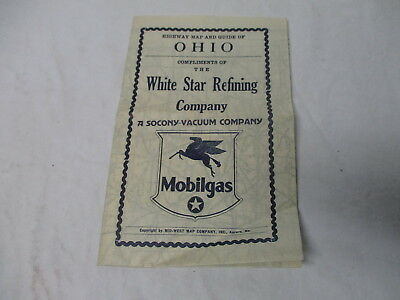 1930's White Star Refining Co, Mobilgas gasoline oil gas station road map-Ohio