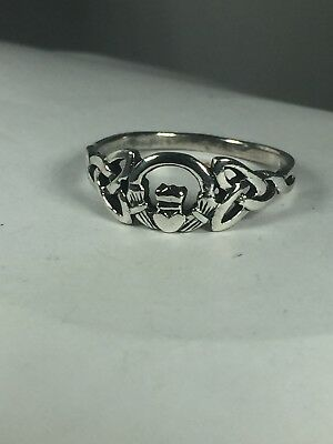 Vintage Sterling Silver IRISH CLADDAGH CELTIC KNOT RING  Size 12.25