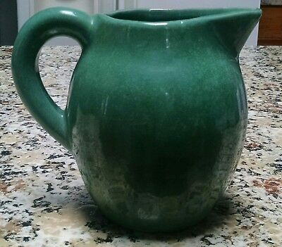 """Vintage BB Bybee Pottery Small 6"""" Green Pitcher"""