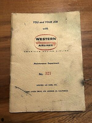RARE 1950s Western Airlines Maintenance Department Employee Handbook 32 Pages