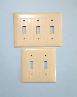 Vintage Sierra Ivory Ribbed Triple and Double Switch Cover Plates