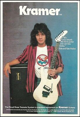 Eddie Van Halen 1984 Kramer Floyd Rose Tremolo guitar ad 5 x 7 advertisement