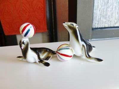 Vintage Bone China Circus Seals with Striped Excellent Condition