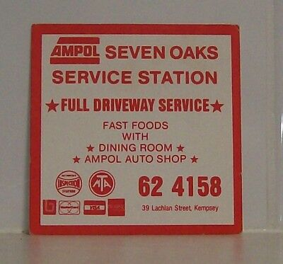 Collectable beer coaster - Ampol Seven Oaks (Kempsey) service station