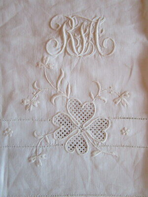 Set Of 3 Antique White Linen French Monogram Pillow Cases Embroidered Shamrock
