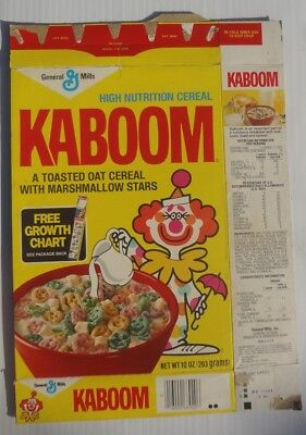 1980 Kaboom Cereal Box series 39  Clown growth chart offer