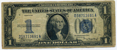"""1934 $1 Silver Certificate """"Funny Back"""" Note Well Circulated"""