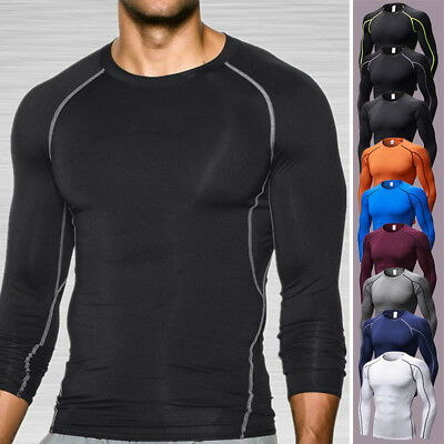 Men's Compression Thermal Skin Base Layer T-Shirt Top Long Sleeve Gym Tights AU