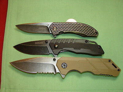 LOT OF 3 KERSHAW  SPEED ASSIST KNIVES SPEED SAFE Tan            1213161336 knife