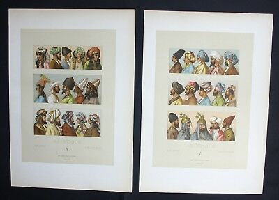 1880 - Kopfbedeckung Turban Hut hat Tracht Asien Asia Lithographie lithograph