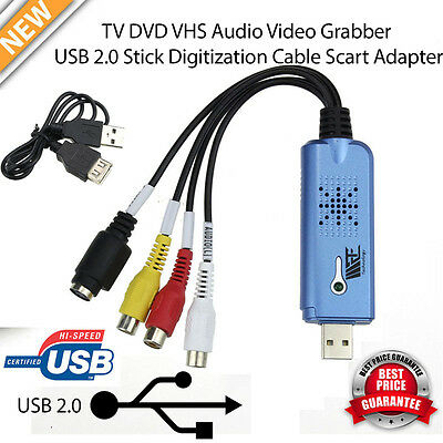 USB 2.0 1 Channel Capture Card VHS to DVD Converter Audio Video Adapter Device