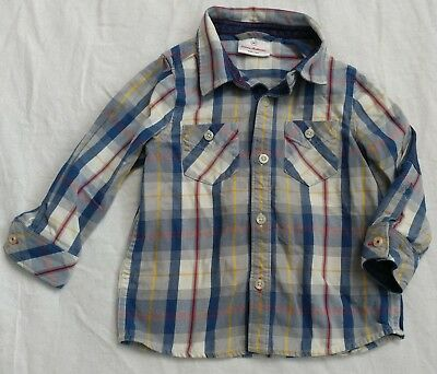 Hanna Andersson Boys SZ 80 2 Plaid Flannel Button Up Down Long Sleeve Top EUC