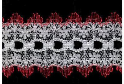 Sullivans Crafty Saver Red Picot Eyelet (Coathanger) Lace (x5 metres)
