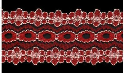 Sullivans Crafty Saver Red Eyelet (Coathanger) Lace (x5 metres)